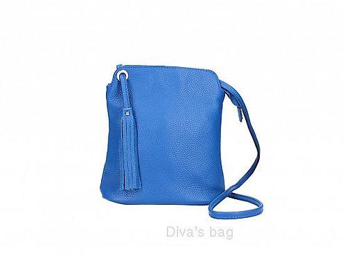 Blue Tassel Small Crossbody Bag - Italian Leather
