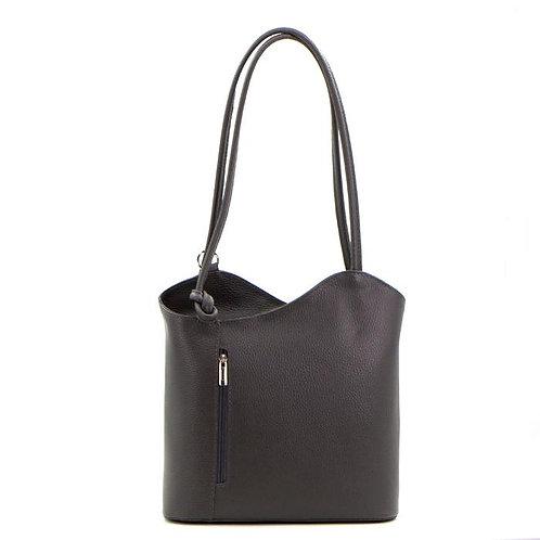 2 in 1 Leather Handbag/Backpack - Dark Grey