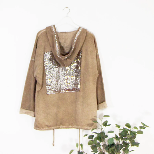 Vintage wash hoody with sequin border and square on back -Tan