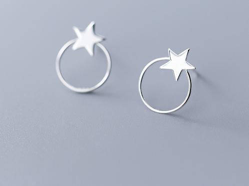 Sterling Silver Star and Hoop Stud Earring