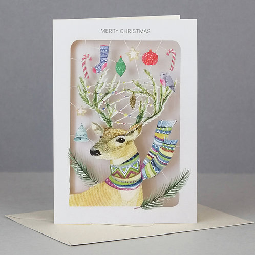 Laser Cut Christmas Card - Stag