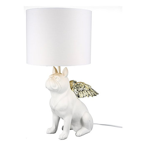Flying Bulldog Table Lamp with Gold Wings