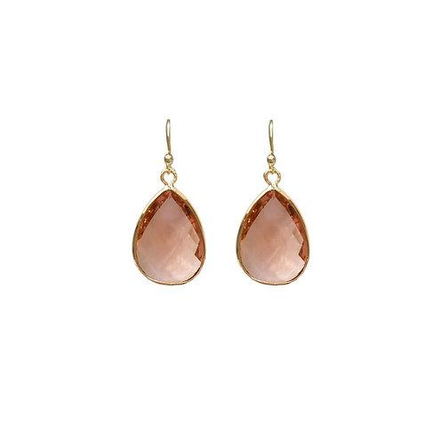 Teardrop gem earring -  soft pink