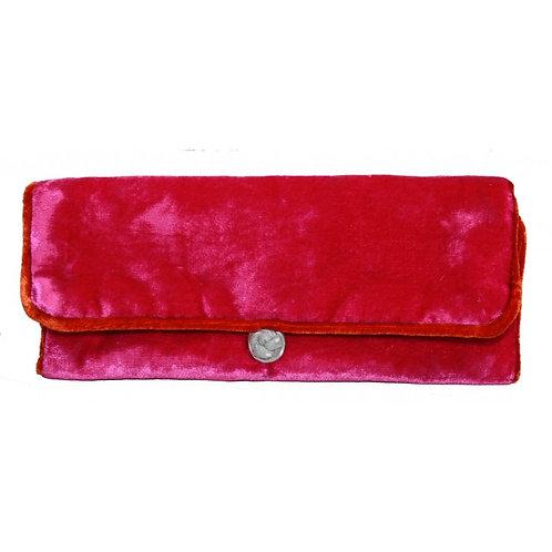 Velvet Jewellery Roll - Hot Pink