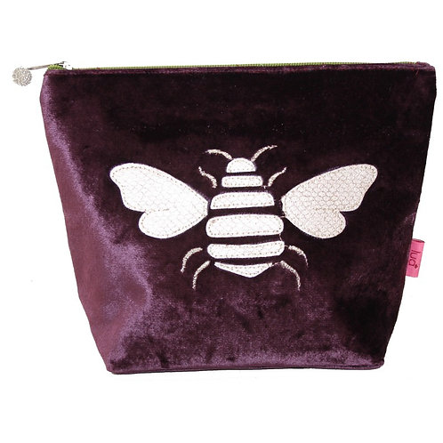 Large Bee Cosmetic Purse -Plum