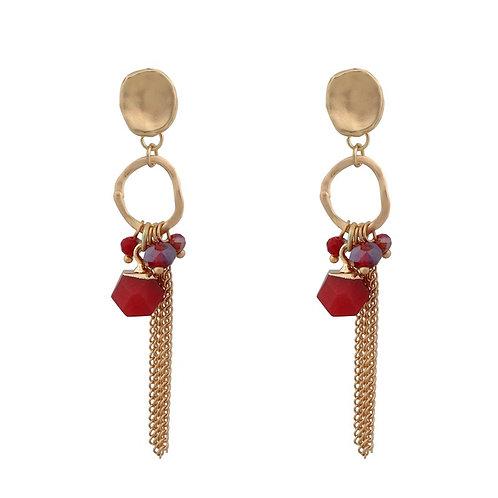 Matt Gold Chain Earrings - Red