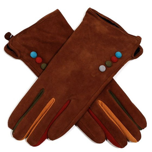 Suede Gloves with Colour Buttons - Brown