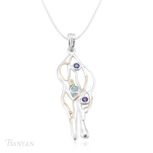 Silver Pendant with Blue Topaz Iolite and Amethyst