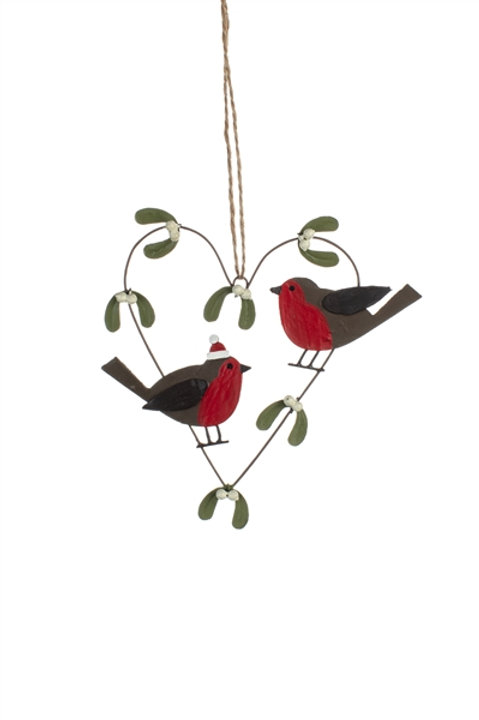 Robin and Mistletoe Heart Hanging Decoration