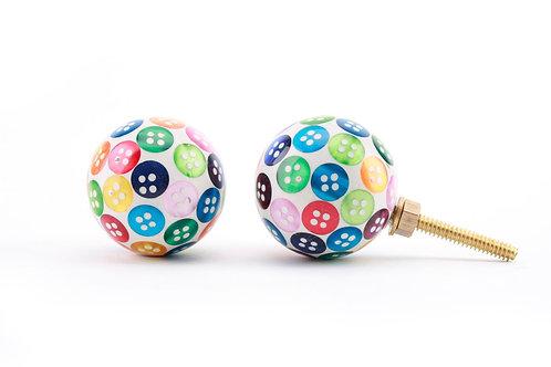 Drawer Knob - Multi coloured button