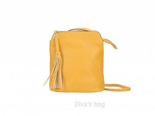 Mustard Tassel Small Crossbody Bag - Italian Leather