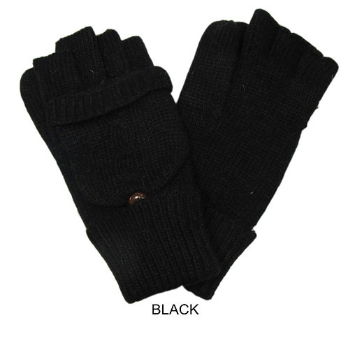 Button Fingerless Glove/Mitten -Black