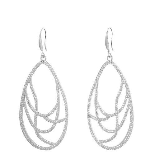 Silver plated pear swirl shaped drop earring