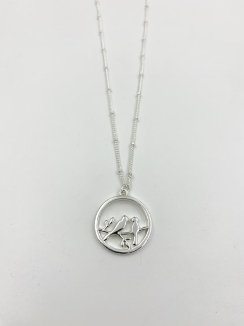 Silver Costume Circle Pendant with Birds