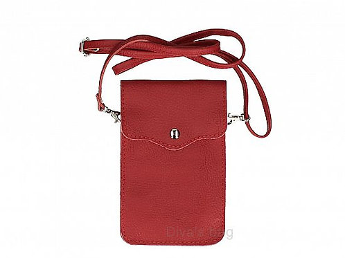 Crossbody Phone Purse - Dark Red Italian Leather