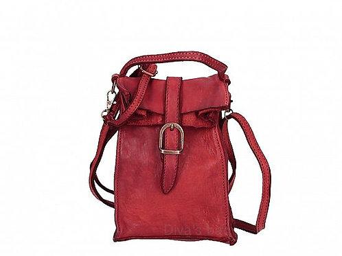 Red Small Buckle Crossbody Bag  Italian Leather
