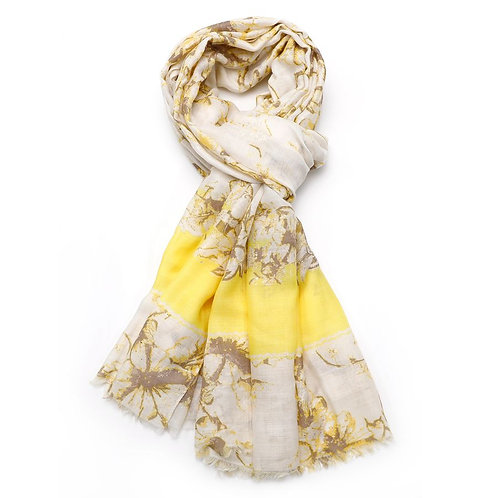 Ink Flower Scarf -Yellow