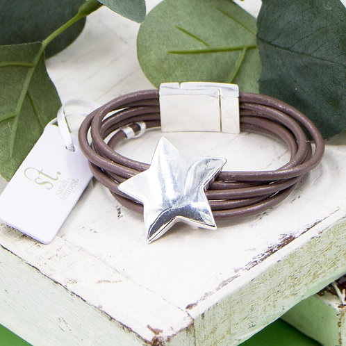 Multi strand leather bracelet with silver star and magnetic clasp