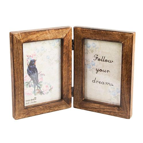 Double Rustic Dark Wood Photo Frame