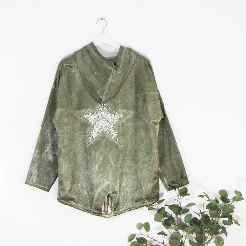 High shine hoodie with embroidered sequin -Green