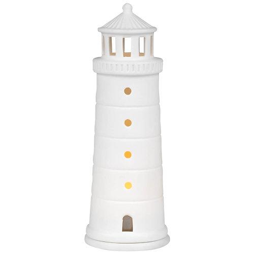 Light House T Light Holder in White Porcelain
