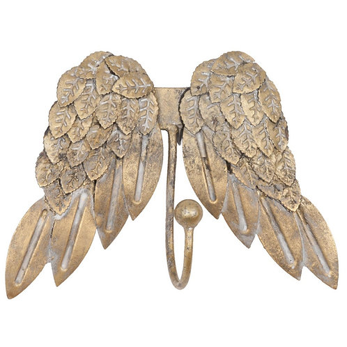 Angel Wings Brushed Gold Wall Hooks