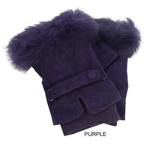 Fur Trim Suede Fingerless Gloves  -Purple
