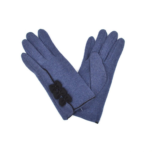 Triple Bow Design Ladies Wool Gloves - Blue