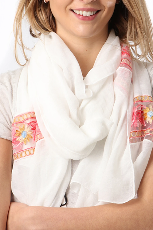 White scarf with a floral embroidered bands