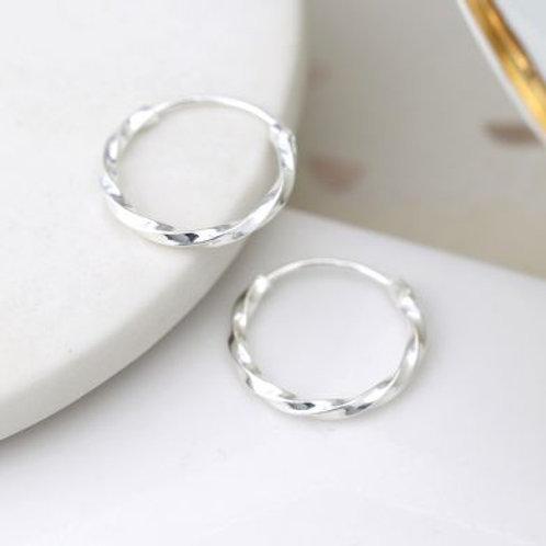 Sterling silver small twisted hoop earrings