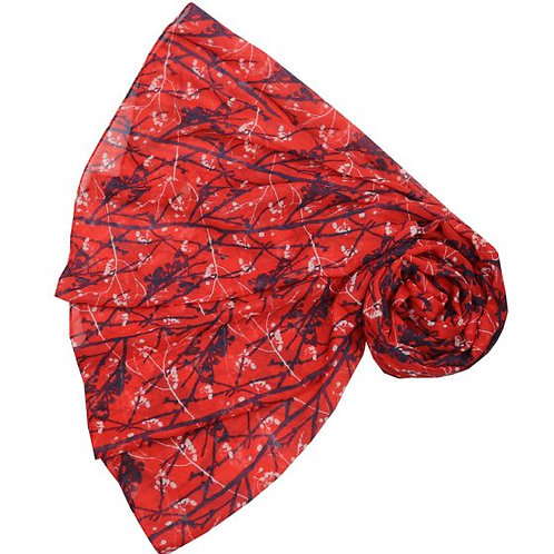 Branch and berry scarf - Red