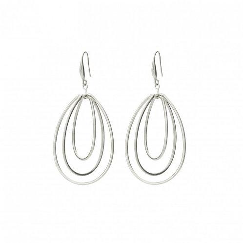 Silver plated pear shaped loops drop earrings