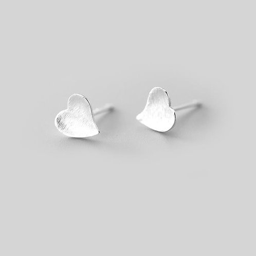 Sterling Silver Curved Heart Earring