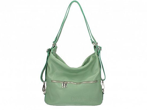 Two in One Shoulder Bag and Backpack -Mint Italian Leather