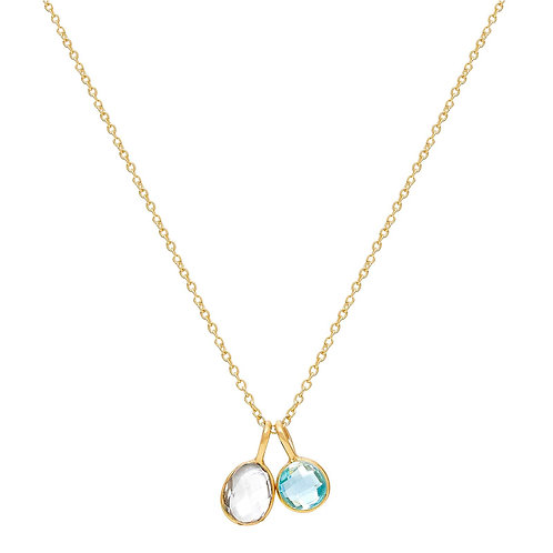 18ct Gold Vermeil Double Gemstone Charm Necklace - Blue Topaz, Crystal