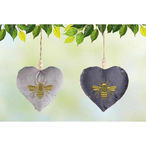Set of Two Velvet Heart Bee Hangers