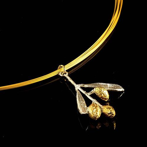 Botanical necklace sterling Silver Olive Branch Pendant