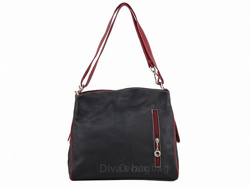 Compartment Italian Leather Shoulder Bag - Black & Red