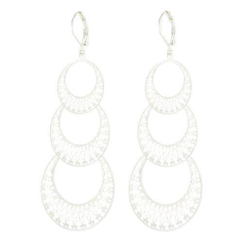 Long drop silver plated circle earrings