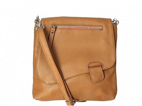 Cognac Slim  Cross Body Bag -  Italian Leather