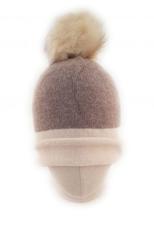 Cashmere blend bobble hat - Cream and Beige