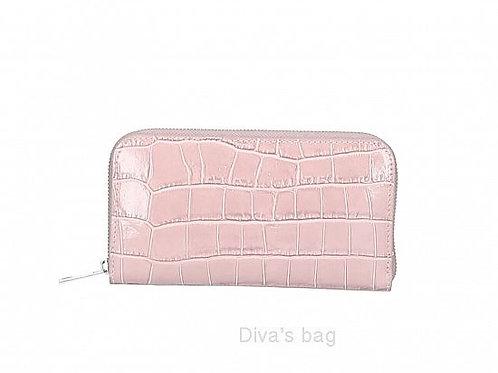 Pink - Italian Leather Croc Purse