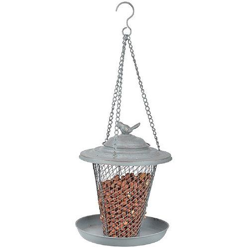 Grey Metal Peanut Hanging Bird Feeder
