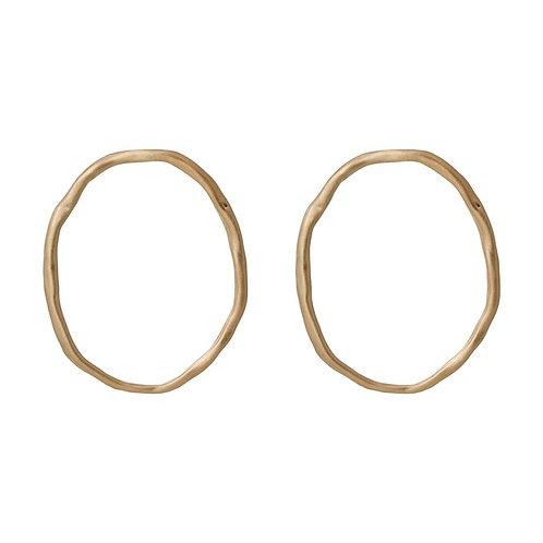 Uneven Gold Hoop Stud Earring