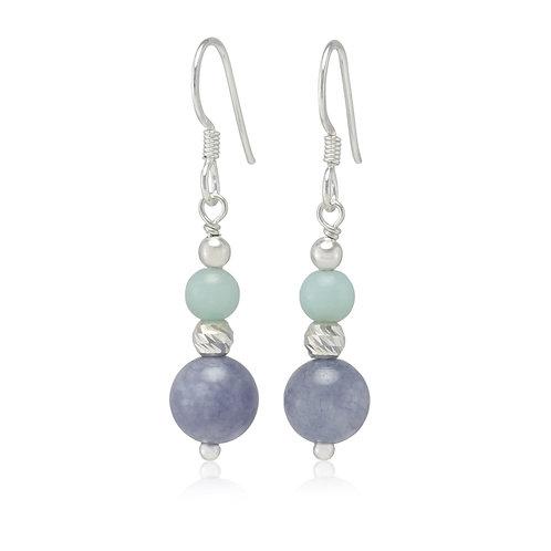 Aqua chalcedony sterling silver earrings