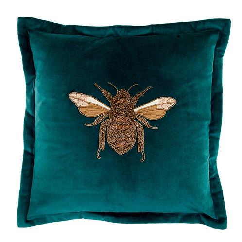 Voyage Velvet Bee Cushion -Teal