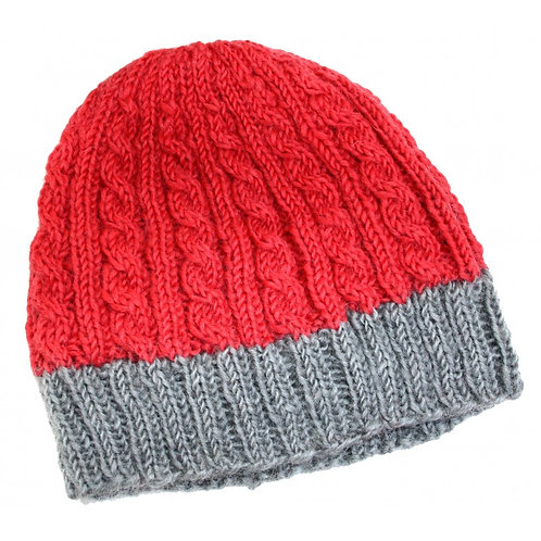 Cable Knit Hat - Chilli and Grey