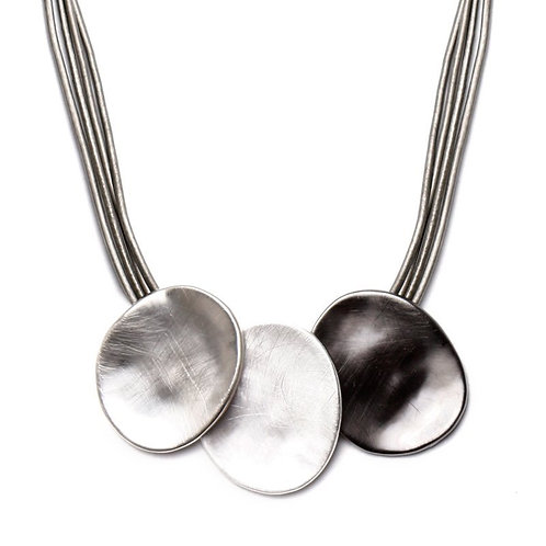 Grey Multi Strand Leather Necklace with Three Disks in Silvers