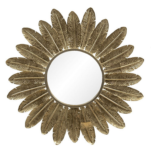 Large Brushed Gold Feather Mirror
