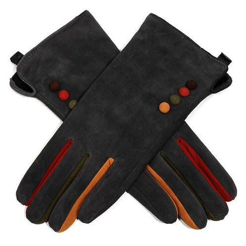 Suede Gloves with Colour Buttons - Grey
